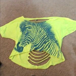 Size medium neon zebra crop top